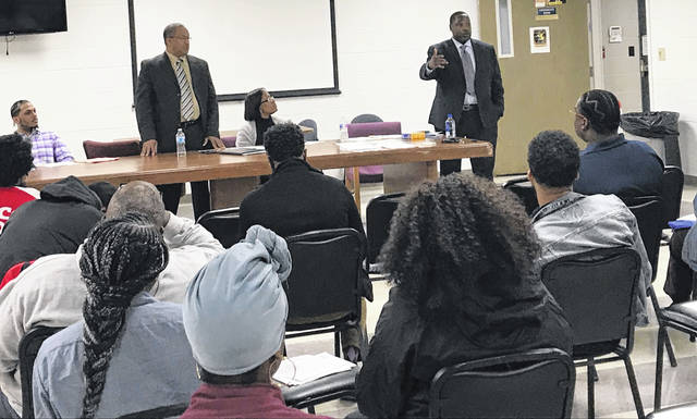 Timothy Callahan, center, told The Lima News his goal is to use the Lima African American Chamber of Commerce to help black-owned businesses find long-term success. Pictured is the first LAACC general body meeting, held at the Bradfield Community Center in March. The group plans to meet the fourth Wednesday of each month.