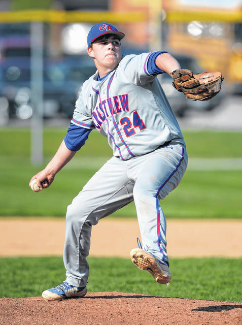 Crestview's Kole Small pitches against Lima Central Catholic at Players Field. Small picked up the win and fanned 11.
