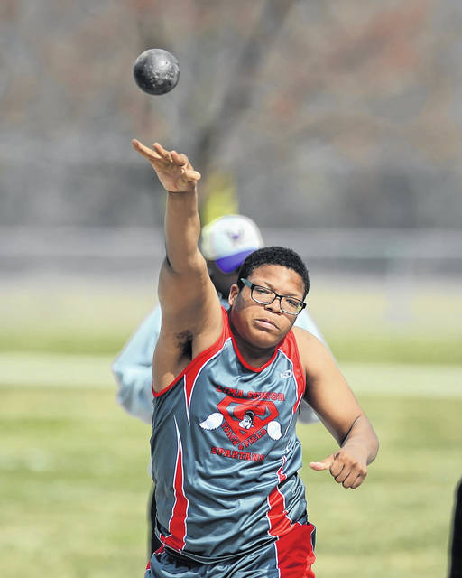 Lima Senior's Jarran Ingram competes in shot put during Saturday's Lima Spartan Track and Field Invitational.