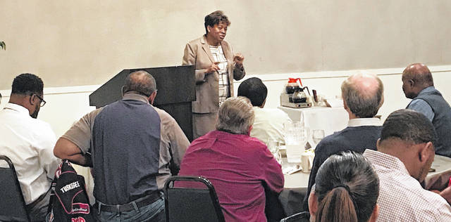Ohio Supreme Court Justice Melody Stewart visited with community and business leaders at the Old Barn Out Back in Lima on Wednesday. Stewart is the first African American woman elected to the Ohio Supreme Court.