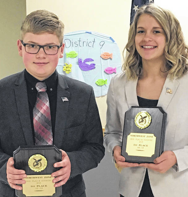 Thomas Bills and Liberty Menke will compete May 4 in the God, Flag, and Country speech competition.