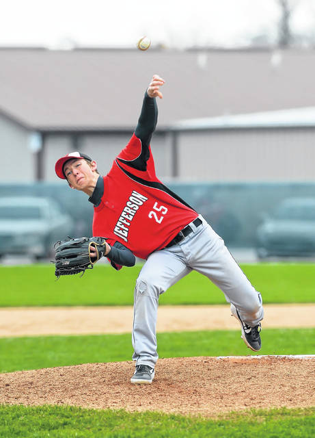 Delphos Jefferson's Josh Wiseman pitches against Perry during Wednesday's game in Delphos.