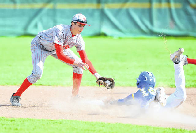 Lehman Catholic's Alex Keller reaches second base before Perry's Adam Liles can apply the tag during Tuesday's game at Perry.