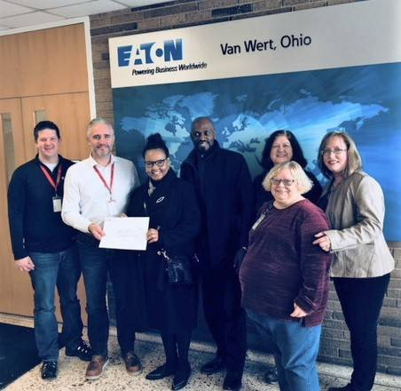 Shawn Wrathell, Eaton Van Wert HR manager; Craig Hill, Eaton director of  manufacturing operations; Joycelyn Burks, UMADAOP housing coordinator; Marcell King, C.O.O. ,  UMADOAP; Dee Densel, Eaton Van Wert contributions team member; Renee Cryer, Eaton Van Wert contributions team member; Erika Lobsiger, Eaton Van Wert contributions team lead. Submitted photo.