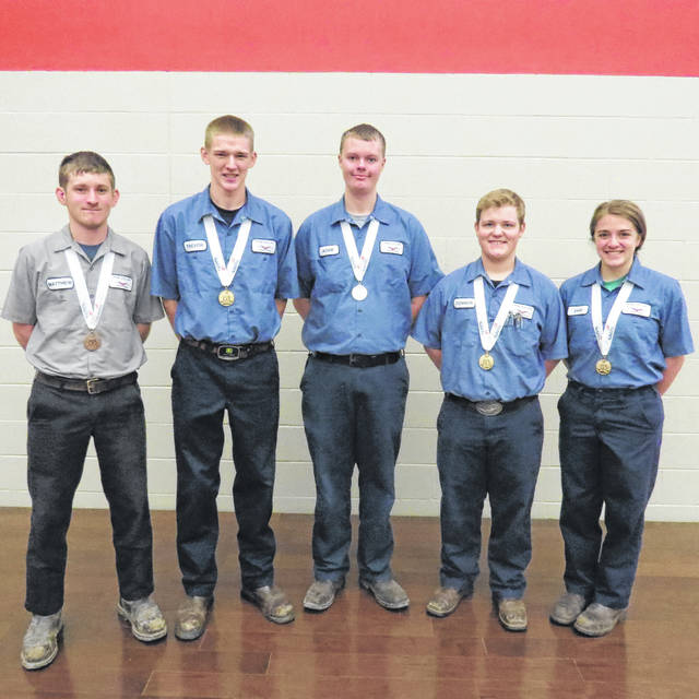 From left to right Matthew Schmiesing, Trevor Siefker, Adam Schnipke, Connor Hoersten and Samantha Backus performed well at the SkillsUSA Ohio State Championships.