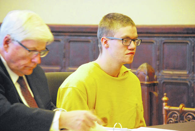 Wesley Slaughter, pictured with attorney Gerald Siesel, appeared in Auglaize County Common Pleas Court Wednesday for a hearing to determine his fitness to stand trial on charges of aggravated arson in connection with a December fire at a downtown Wapakoneta landmark. Based on two separate psychological reports, Judge Frederick Pepple ruled Slaughter was competent.