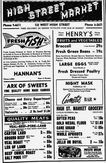 "This newspaper advertisement from 1948 promotes the High Street Market and the Ark of Sweets' ""fine quality home made candies."" The shop was in the market."