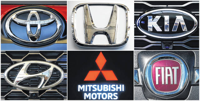 This undated combination of photos shows clockwise from top left the logos for Toyota, Honda, Kia, Fiat Chrysler, Mitsubishi and Hyundai. U.S. auto safety regulators have expanded an investigation into malfunctioning air bag controls to include 12.3 million vehicles because the bags may not inflate in a crash. Vehicles made by Toyota, Honda, Kia, Hyundai, Mitsubishi and Fiat Chrysler from the 2010 through 2019 model years are included in the probe, which was revealed Tuesday, April 23, 2019, in documents posted by the National Highway Traffic Safety Administration.