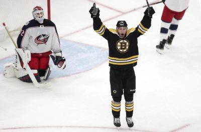 The Bruins' Charlie Coyle celebrates after beating Columbus goaltender Sergei Bobrovsky for the game-winning goal during overtime of Game 1 of a second-round playoff series Thursday in Boston. (AP photo)