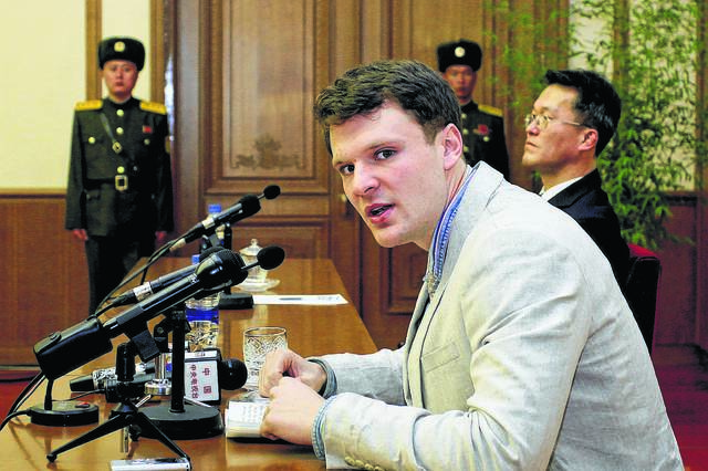 FILE - In this Feb. 29, 2016 file photo, American student Otto Warmbier speaks as Warmbier is presented to reporters in Pyongyang, North Korea.
