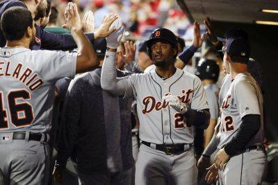 Detroit's Niko Goodrum is congratulated after hitting a home run during Tuesday night's game in Philadelphia. (AP photo)