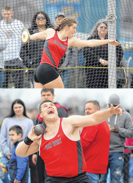 Van Wert's Kristen Clay, top, and Austin Clay compete in the discus and shot put respectively during Friday night's Ehresman Memorial Track and Field Invitational.