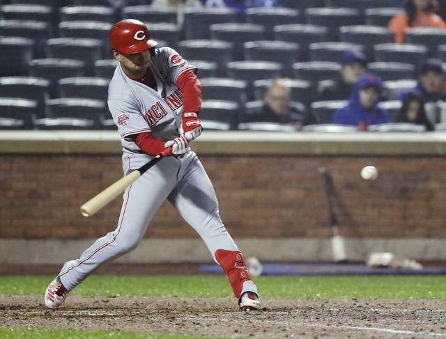 Cincinnati Reds' Jose Iglesias hits a home run during the ninth inning of the team's baseball game against the New York Mets on Wednesday, May 1, 2019, in New York. The Reds won 1-0. (AP Photo/Frank Franklin II)