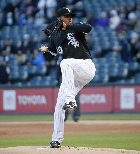 Chicago White Sox starting pitcher Reynaldo Lopez throws to a Cleveland Indians batter during the first inning of a baseball game Monday, May 13, 2019, in Chicago. (AP Photo/Nuccio DiNuzzo)