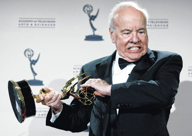 "Actor Tim Conway poses with his award for Outstanding Guest Actor in a Comedy Series for his work on ""30 Rock"" on Sept. 13, 2008, in Los Angeles. Conway, the stellar second banana to Carol Burnett who won four Emmy Awards on her TV variety show, died Tuesday morning, according to his publicist. He was 85."