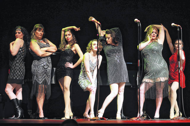 A group of singers and dancers perform Tuesday night at a gala at Veterans Memorial Civic Center in Lima as part of a gala unveiling the venue's upcoming performance schedule.