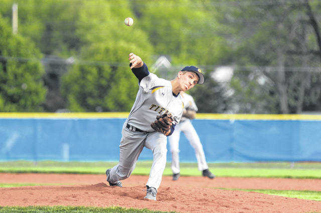Jacob Balbaugh of Ottawa Glandorf took the mound for the game against Bath on Wednesday evening at Bath.