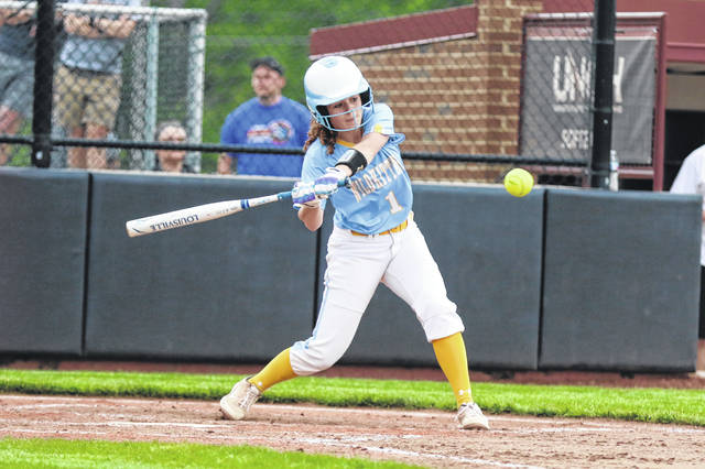 Chandler Clark bats for Bath during a Thursday night Division II district semifinal against Wauseon at the University of Northwestern Ohio.