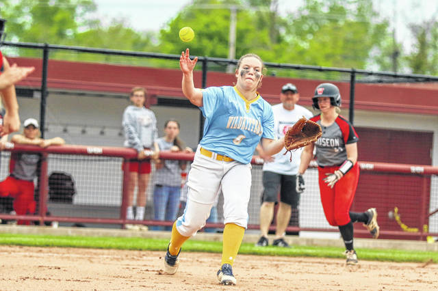 Bath's Kaylee Grant makes the throw to first during a Thursday night Division II district semifinal against Wauseon at the University of Northwestern Ohio.