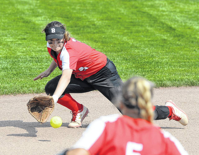 Bluffton's Averey Rumer fields a ground ball against Carey during Wednesday's Division IV District Semifinal Tournament at Marathon Diamonds in Findlay.