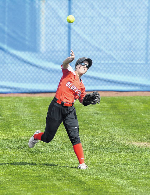 Bluffton's Brinkley Garmatter throws from the outfield against Carey durng Wednesday's Division IV District Semifinal Tournament at Marathon Diamonds in Findlay.