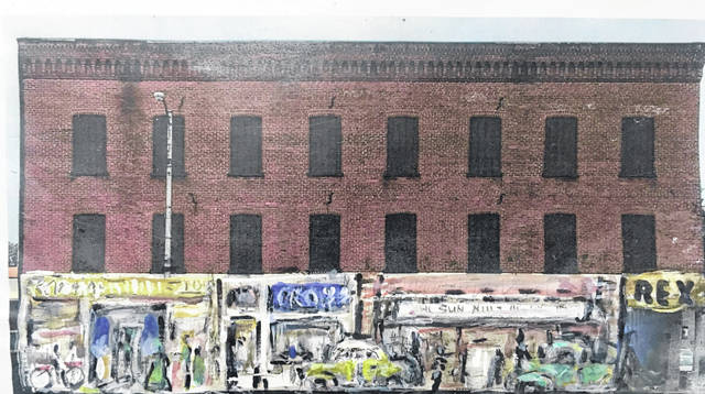 Pictured is an artist's rendering of businesses that were torn down in downtown Ottawa that will be part of a mural.