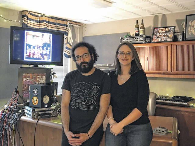 Omar Zehery and Kayla Nocera in their recording studio, Legacy Sounds, above The Meeting Place on Market. The studio will be moving to 207 S. Central Ave., to form a Legacy Arts District in 2019.