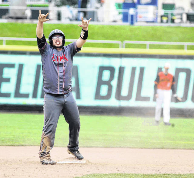 Lima Senior's Dakota Seaman celebrates hitting a double Saturday that sparked a three-run sixth inning for the Spartans against Elida at Dayton's Fifth-Third Field.