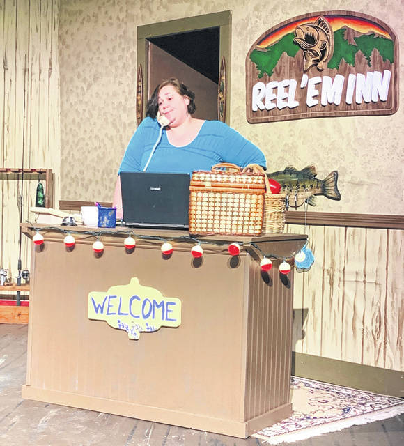 "Jodi Brincefield rehearses for Encore Theatre's opening weekend of ""Farce of Habit."""