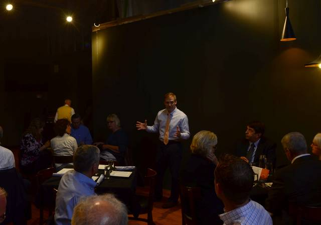 Rep. Jim Jordan, R-Urbana, talks to a crowd of local leaders and business owners about his efforts in Washington, D.C.