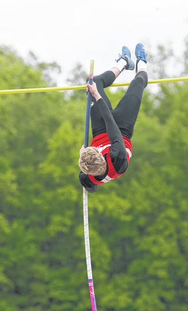 Upper Scioto Valley's Korwin Kurtz competes in the pole vault during Saturday's Northwest Central Conference Championships at Waynesfield-Goshen.