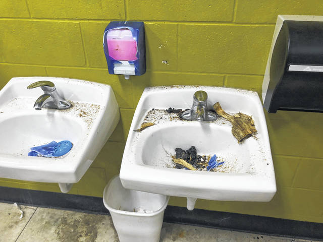 Someone damaged the restrooms at Kalida's Four Seasons Park over the weekend.