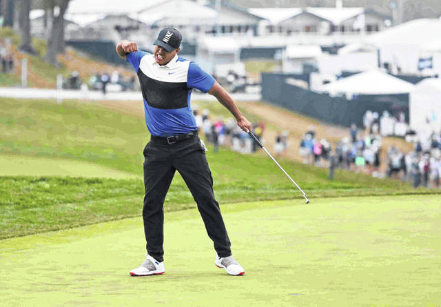 Brooks Koepka reacts after winning the PGA Championship golf tournament, Sunday, May 19, 2019, at Bethpage Black in Farmingdale, N.Y. (AP Photo/Julio Cortez)