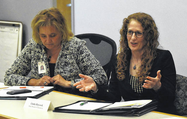 "State school board member Linda Haycock, of Lima, said the theory behind the Cupp-Patterson plan ""was fabulous,"" but when crunching the numbers, issues surfaced that need to be worked out. Craig Orosz 