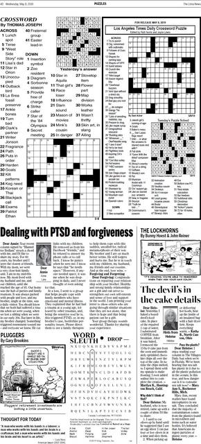photo about Thomas Joseph Crossword Printable identified as Suitable puzzles versus todays paper accessible upon