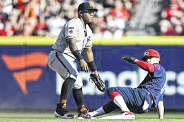 Cincinnati Reds infielder Josh VanMeter beats the tag of the San Francisco Giants' Yangervis Solarte for a stolen base in his first appearance in a major league game on Sunday.