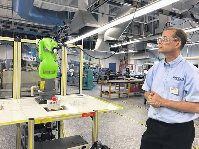 Ronald Leonard, an instructor at Rhodes State College, explains how collaborative industrial robots are safer for workers than typical industrial robots.