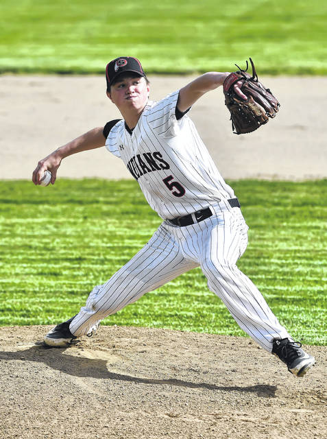 Jarin Bertke pitches for Shawnee against Clear Fork during Thursday's Division II district semifinal in Kenton.