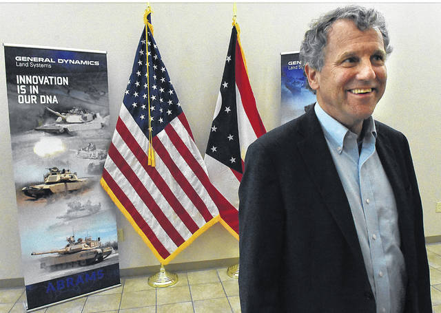 U.S. Senator Sherrod Brown (D-OH) addresses local media before touring the Joint Systems Manufacturing Center on Thursday.