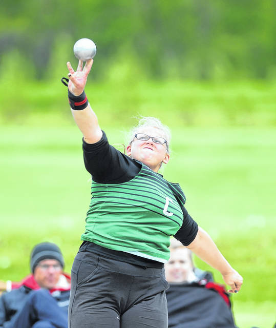 Celina's Stephanie Wadsworth competes in shot put during Friday night's WBL Championships at St. Marys.