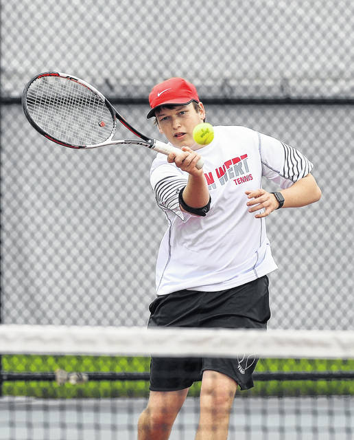 Van Wert's Zane Fast hits a return during Saturday's Western Buckeye League Tournament at UNOH.