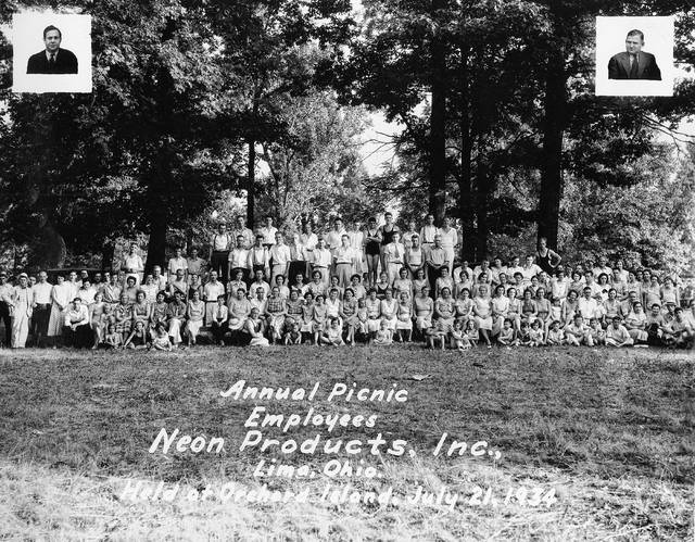 A portrait was made at Neon Products Inc.'s annual company picnic, dated July 21, 1934.