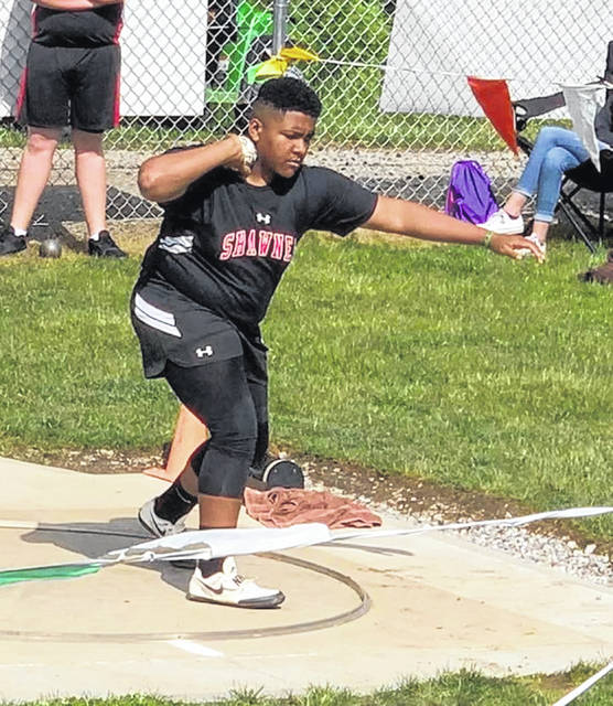 Shawnee Middle School's Shandon Sewell competes at state in the shot put.