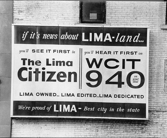 One of the most modern of signs, a large illuminated plastic bulletin type, advertises The Lima Citizen and radio station WCIT on the northeast corner of Main and High streets in Lima. Owned and installed by Neon Products, Inc., Lima, it is one of the type being adopted in the largest cities in the nation. Sam Kamin, president of Neon, says his firm has made several hundred of these signs for installation in New York, Chicago and cities throught the U.S. The sign, previously billed The Citizen was changed last week to include radio station WCIT. One of the main features of the sign is that the message can be changed. Ironically, TLC went under only a few months later. This photo appeared in the Citizen Nov. 10, 1963.
