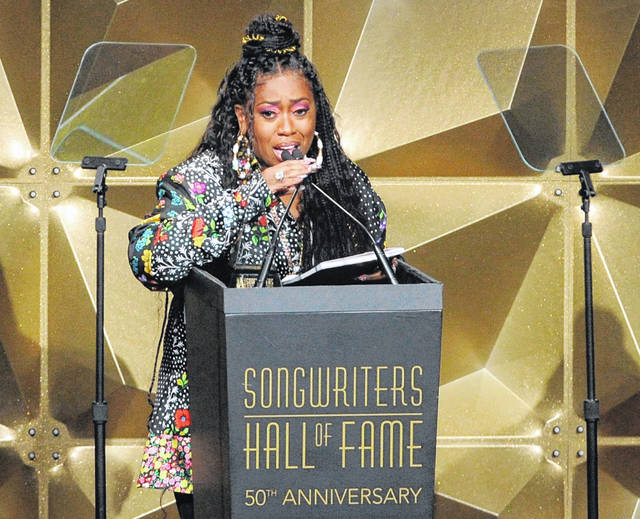 Missy Elliott speaks at the 50th annual Songwriters Hall of Fame induction and awards ceremony at the New York Marriott Marquis Hotel on Thursday in New York.