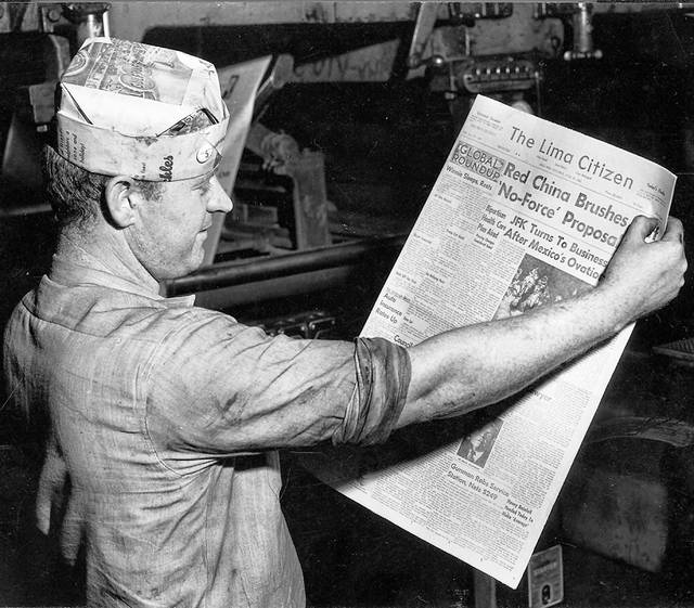 Citizen press foreman Harold L. Hughes checks the front page of the final edition of The Lima Citizen's first five years in this photo published in The Lima Citizen in 1962.