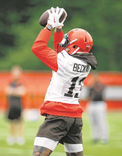 Cleveland wide receiver Odell Beckham Jr. takes part in a drill Tuesday at the team's training facility in Berea.