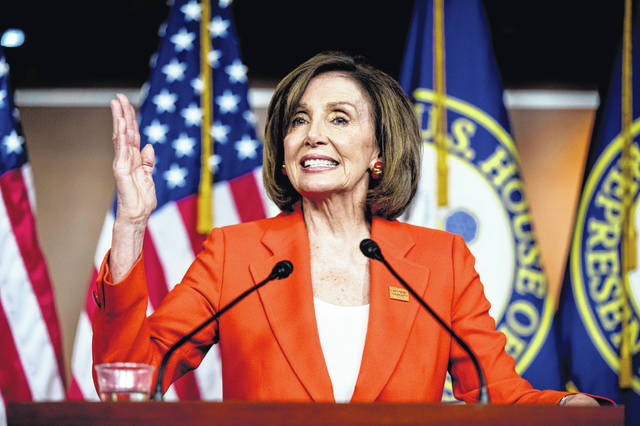 """In this June 5, 2019, photo, House Speaker Nancy Pelosi of Calif., speaks at the Capitol in Washington. President Donald Trump says it's """"case closed,"""" but Democrats are just getting started with special counsel Robert Mueller. Holding the first in a series of hearings on Mueller's report, Democrats this coming week are intensifying their focus on the Russia probe and picking up the pace on an investigative """"path,"""" in the words of Pelosi, that some hope leads to impeachment."""