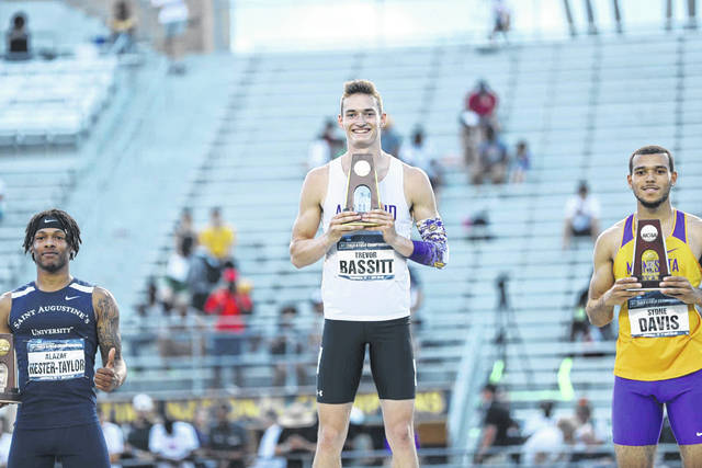Ashland's Trevor Bassitt, a Bluffton High Shool graduate, was a national champion in the 400 meter hurdles and played a major role in the Eagles winning the national title after placing second in the 110 meter hurdles and as a member of the 1,600 meter relay team that finished second overall.