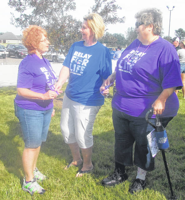 From left are Donna Burgei, cancer survivor, Lisa Rieman, survivorship committee chair, and Lois McKnight, cancer survivor, during relay for life in Kalida.